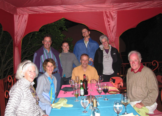 Trip to Costa Rica in 2011 to study the Rancho Mastatal model from left to right: Leslie Barclay, Margie Baldwin, Michael Baldwin, Desa VanLaarhoven, Ian Baldwin, Geoff Kinder (in back), Margo Baldwin and Rutgers Barclay.